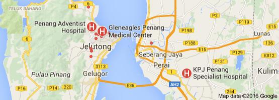 peta rumah sakit terbaik di penang